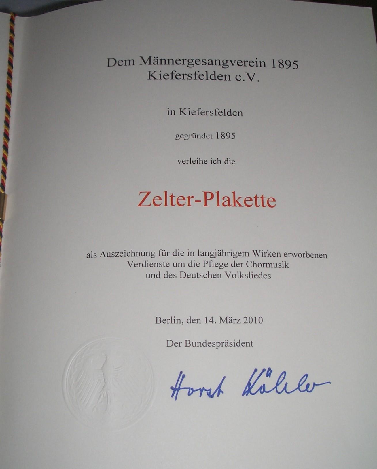 Zelter-Urkunde